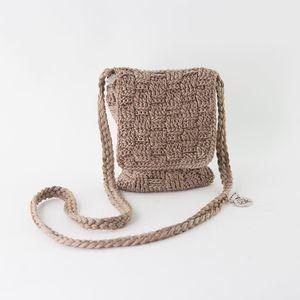 THE SAK Small Tan Crocheted Crossbody Purse
